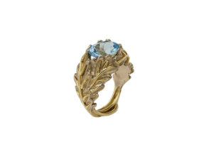 Faceted-aquamarine-yellow-and-white-gold-oak-leaf-ring-side-view-MIS26354