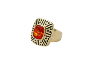 Gold ring with fire opal and black enamel; fine jewellery London