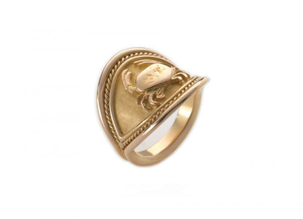 Gold zodiac Cancer signet ring; fine jewellery London