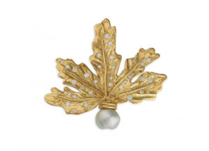Gold leaf pin with diamonds and keshi pearl; gold brooch; fine jewellery London