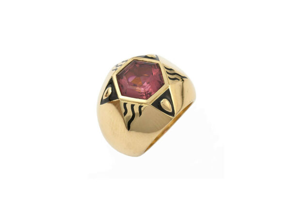 Hexagon-Pink-Red-tourmaline-ring-with-black-enamel-MIS26386