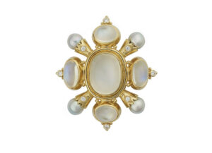 Gold kiss pin with moonstone, diamonds and Akoya grey pearls; fine jewellery London