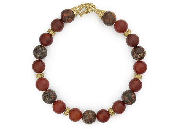 Leopard-jasper-and-carnelian-bead-necklace-with-dragon-clasp-NBG21542