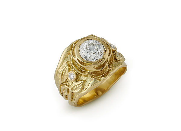 Gold Rose ring with diamonds, leaf motifs and molten gold; fine jewellery London