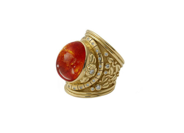 Mandarin-Garnet-cabachon-ring-with-myrtle-leaves-and-diamonds-SIDE-VIEW-TTL26465-NEW