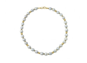 Necklace with silver pearls and gold beads; fine jewellery London