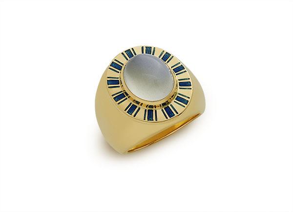 Gold Orlov ring with moonstone; fine jewellery London; Elizabeth Gage