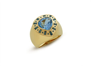 Gold Orlov ring with aquamarine and blue enamel; fine jewellery London; Elizabeth Gage