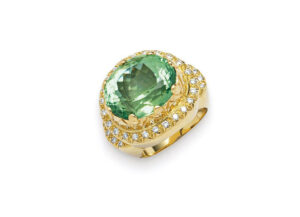 Gold ring with oval mint green tourmaline; fine jewellery London