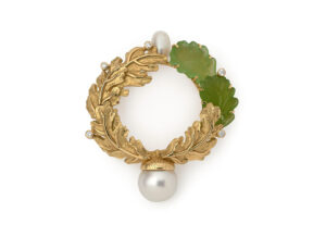 Gold oak leaf pin with peridots, pearls and diamonds; fine jewellery London