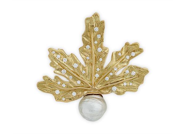 Gold leaf diamond and pearl pin; gold brooch; fine jewellery London; Elizabeth Gage