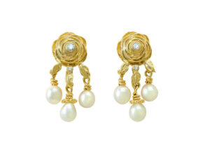 Gold rose motif earrings with diamond and suspended pearls; fine jewellery London