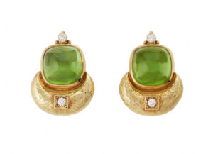 Gold Eleanor earrings with peridot, diamonds and gold beads; fine jewellery London