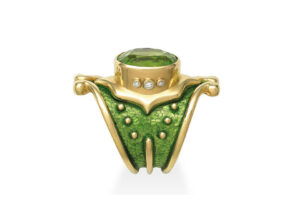 Gold Heliotrope ring with peridot and diamonds; fine jewellery London