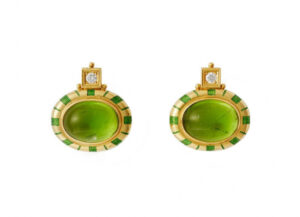Gold Persian Queen earrings with peridots, diamonds, green enamel; fine jewellery London
