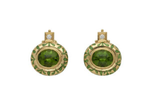 Gold persian queen earrings with green peridot, diamonds and green enamel; fine jewellery London