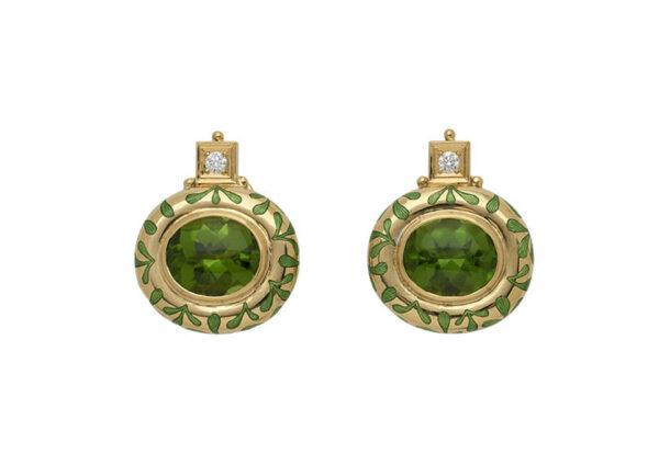 Persian_queen_oval_green_peridot_earrings_with_green_seaweed_enamel_PRQ25463