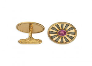 Gold cufflinks with pink sapphires and grey enamel; fine jewellery London