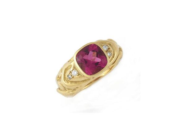 Pink-tourmaline-and-diamond-molten-gold-ring-MLG23280