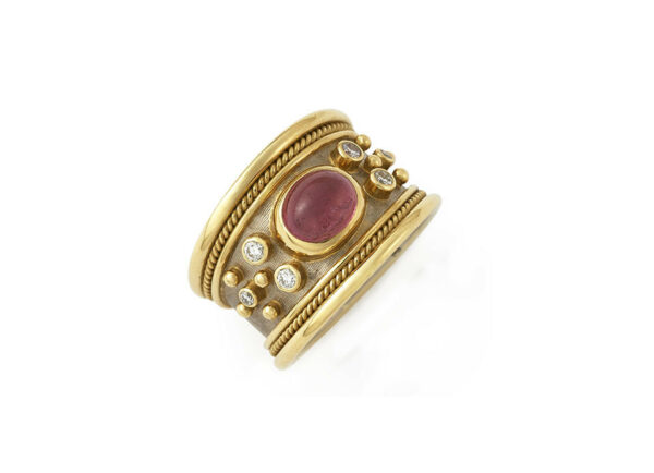 Pink-tourmaline-cabachon-tapered-templar-ring-with-diamonds-TTS24576