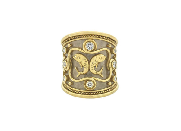 Gold zodiac ring with diamonds and pisces motif; fine jewellery London