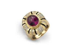 Gold ring with rhodolite garnet and diamonds; fine jewellery London