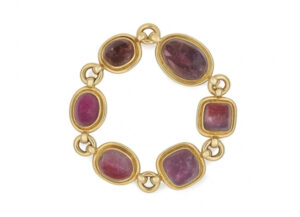 Gold bracelet with rubellites; fine jewellery London