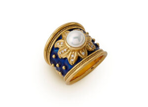 Gold tapered ring with Akoya pearl, diamonds, sunburst motif and blue enamel; fine jewellery London