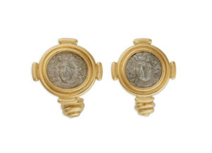 Gold cufflinks with silver drachm coins; fine jewellery London