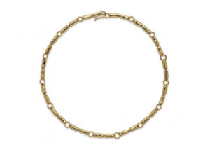 Molten gold tube necklace; fine jewellery London
