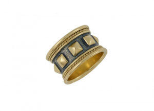 Gold Templar band ring with violet-grey enamel; fine jewellery London