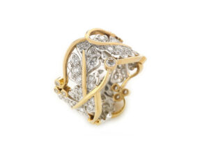 Yellow and white gold ring with oak leaf motifs and diamonds; fine jewellery London