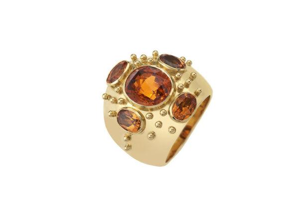 Gold Kiss ring with mandarin garnets; fine jewellery London