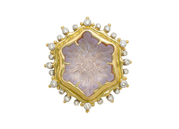 Yelow and white gold snowflake cameo pin with amethyst