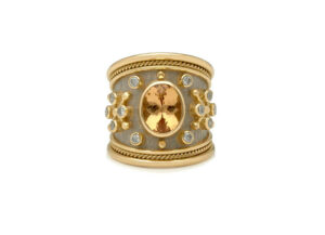 Yellow and white gold templar ring with topaz and diamonds; fine jewellery London