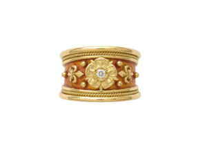 Gold tapered templar ring with Tudor rose motif, diamond and orange enamel; fine jewellery London