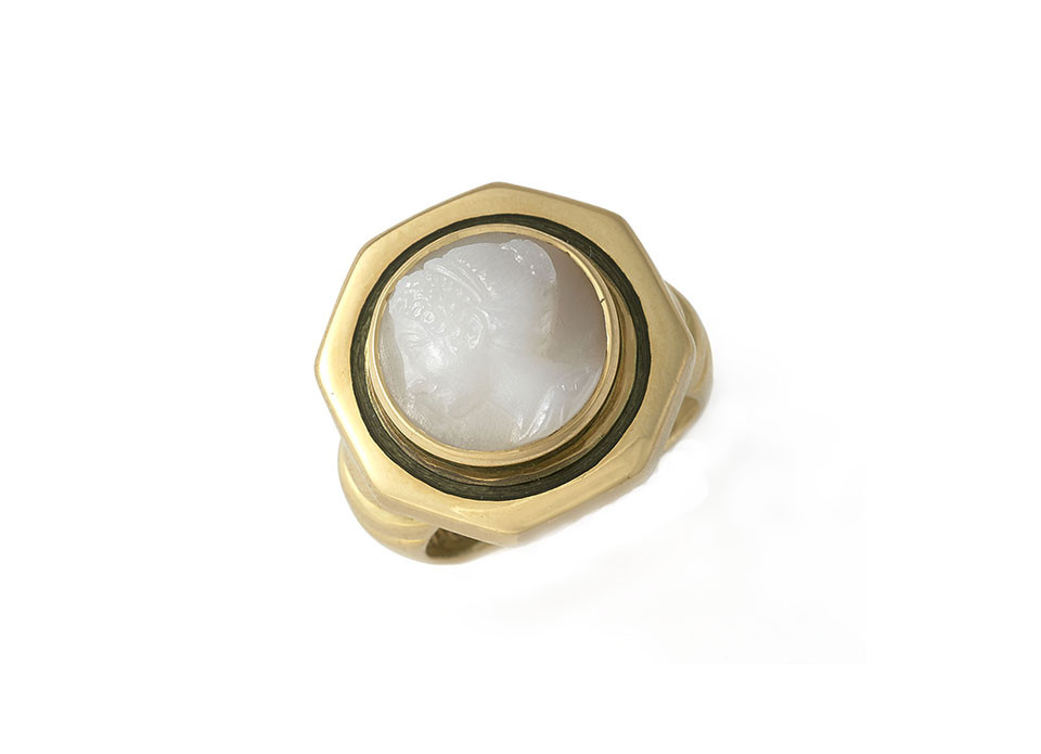 white agate cameo ring elizabeth gage