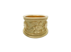Gold tapered Zodiac ring with Aquarius motif; fine jewellery London