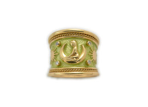 Gold zodiac tapered ring with diamonds, green enamel and Virgo motif; fine jewellery London