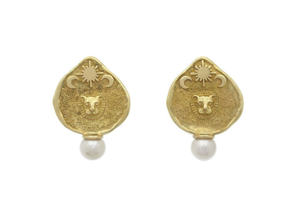 Gold shiraz earrings with molten gold and pearls; fine jewellery London