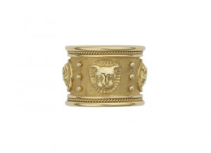 Gold zodiac templar band ring with Leo motif; fine jewellery London