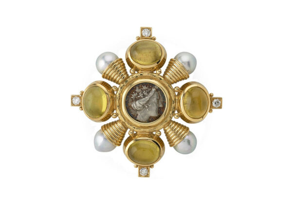 cabachon-yellow-tourmaline-Kiss-pin-with-coin_-diamonds-and-pearls-PIN24704