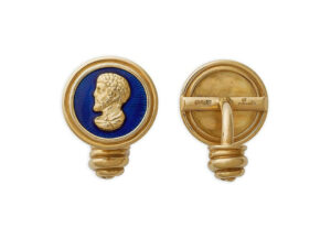 Gold Caesar head cufflinks with blue enamel; fine jewellery London