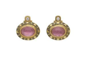 oval-cabachon-pink-tourmaline-persian-queen-earrings-with-grey-enamel-PRQ24472