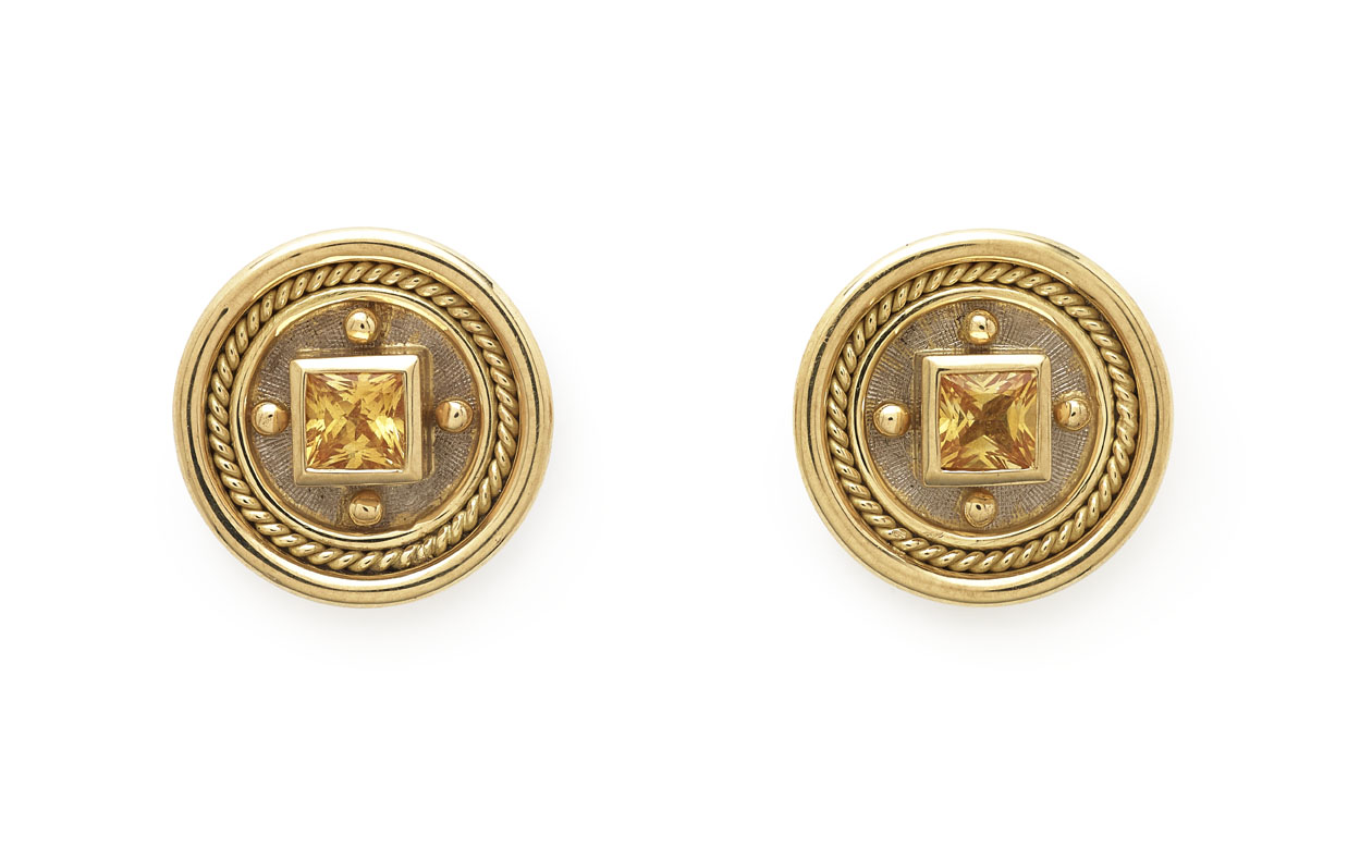 round jewelry yellow blue dp sapphire studs gold earrings com amazon stud