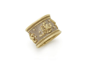 Yellow and white gold band ring with Scorpio motif; fine jewellery London