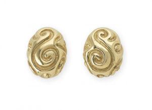 molten gold bombé earrings; fine jewellery London