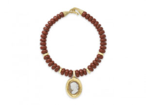 Gold necklace with red jasper beads and grey/white cameo pendant; fine jewellery London