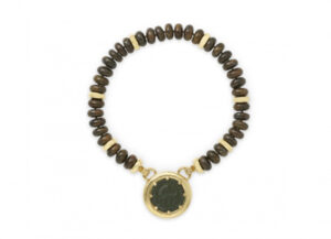 Necklace of bronzite beads & planished gold with bronze pendant; fine jewellery London