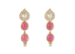 Pink Tourmaline Drop Earrings EMS26390-[2]